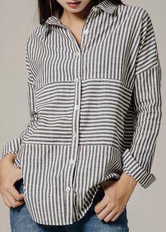 Striped Button Up Turndown Collar Asymmetric Hem Shirt Trendy Tops For Women, Blouses For Women, Cheap Maxi Dresses, Casual Skirt Outfits, Shirt Blouses, T Shirt, Discount Designer Clothes, Shirt Sale, Look Cool