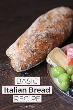 The Best Basic Italian Bread Recipe - Food Life Design Basic Italian Bread Recipe, Italian Bread Recipes, Homemade French Bread, Artisan Bread Recipes, Easy Bread Recipes, Italian Foods, Italian Desserts, Bakery Recipes, Cooking Recipes