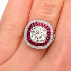 Antique Style Diamond Ruby Platinum Engagement Ring