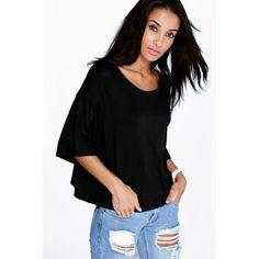 Boohoo Basics Sofia Boxy Half Sleeve T-Shirt ($14) ❤ liked on Polyvore featuring tops, t-shirts, black, ribbed tee, black tee, long sleeve crew neck tee, high neck crop top and long sleeve t shirt