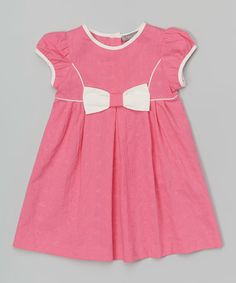 Another great find on #zulily! Fuchsia Bow Cap-Sleeve Dress - Infant & Toddler #zulilyfinds