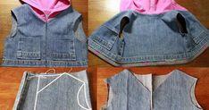 ARTESANATO COM QUIANE - Paps,Moldes,E.V.A,Feltro,Costuras,Fofuchas 3D: Transforme calça jeans em um colete - Reciclagem de roupas!