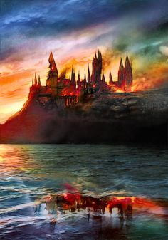 Hogwarts - The End ~ Fanart by AStoKo castle citadel fortress sunset watercolor Harry Potter ocean lake sea landscape location environment architecture | Create your own roleplaying game material w/ RPG Bard: www.rpgbard.com | Writing inspiration for Dungeons and Dragons DND D&D Pathfinder PFRPG Warhammer 40k Star Wars Shadowrun Call of Cthulhu Lord of the Rings LoTR + d20 fantasy science fiction scifi horror design | Not Trusty Sword art: click artwork for source