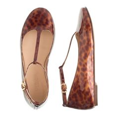 Girls' tortoise patent T-strap ballet flats - shoes -Girls- J.Crew