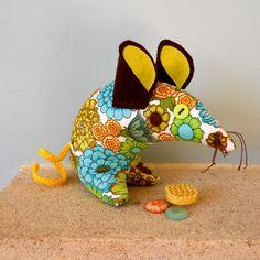 Retro ReBorn Mouse 70s Blue Green Orange Flower by audreyscat, £9.00