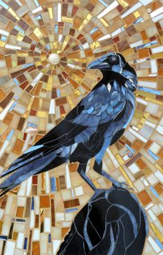 Ive wanted to mosaic a crow for so long, and finally, here he is! Hes fearless, majestic, magical. Black feathers, bluey black reflections. A