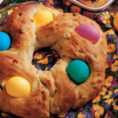 Italian Easter Bread. This is the first bread I ever made that turned out. Maybe I'll make it this weekend!
