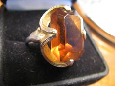 timeless amber glass prismed cut chunky ring. etsy shop:  VintageAngeline #vintage #amber #glass #ring
