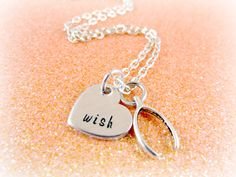 Hand Stamped Wish Necklace - Make a Wish - Wishbone Necklace - Good Luck Charms - Thank You Gift - The Artisan Group - Everything Pretty