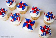 Pinwheel Fourth of July Cupcakes