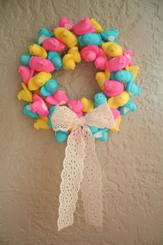 Peep wreath...let them dry out, glue to toothpicks, maybe spray with some kind of clear coat