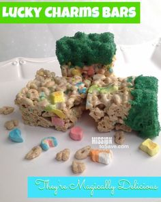 Lucky Charms Bars Recipe- They're Magically Delicious! And perfect for St. Patricks Day celebrations - Mission: to Save Creative Desserts, Great Desserts, Dessert Recipes, Dessert Bars, Snack Recipes, Lucky Charms Cereal, St Patricks Day Food, Saint Patricks, Desert Recipes