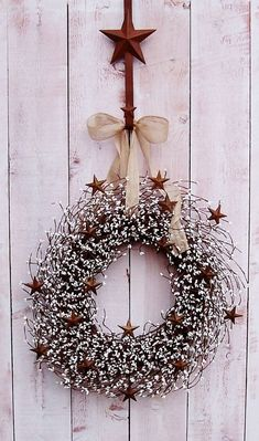 Fall Wreath-Winter Wreath-Christmas Wreath-BURLAP & WHITE Rusty Star Berry Door Wreath-Front Door Wreath-Rustic Home Decor-Primitive Country... by Gjeano