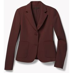 Theory Ornella CL Jacket in Admiral Crepe ($237) via Polyvore featuring outerwear, jackets, cassis, red jacket, draped jacket, crepe jacket and theory jacket