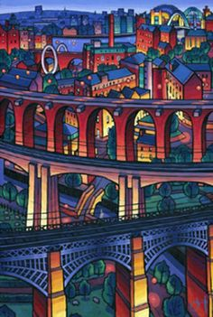 Many Ouseburn Bridges at Night by Jim Edwards, 2013 Newcastle Gateshead, Workshop Studio, Print Artist, Art Print, Artist Painting, Giclee Print, Different Art Styles, Train Art, Painting For Kids