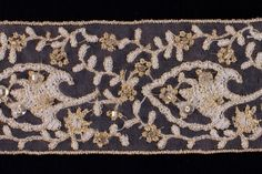 """Britex+Fabrics+-++2""""+White+&+Gold+Sequined++Beaded+Lace+-+Beaded+-+Lace+&+Trim"""
