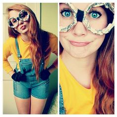 minion costume   Tumblr.   @Emma Zangs Murphy Halloween 2013?!?!?   Minion costume -high waisted jean shorts -yellow shirt -hipster glasses  DONE