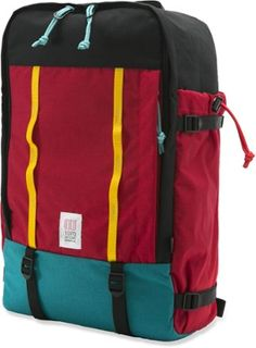 Whether on the road or cruising through town, the Topo Designs Mountain Daypack is an ideal travel companion. The huge U-shaped zippered access to the main compartment makes packing a breeze. Available at REI, 100% Satisfaction Guaranteed.