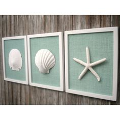 LARGE Wall Art 8 3/4 x 10 3/4 Inch Cottage Chic Set of Beach Wall Art,... (€70) ❤ liked on Polyvore featuring home, home decor, white home accessories, burlap home decor, blue home decor, sea glass home decor and blue home accessories