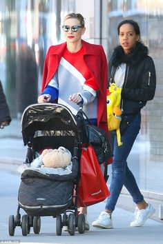 Always chic: Cate Blanchett wowed in red, white and blue while pushing a stroller in NYC on Wednesday afternoon