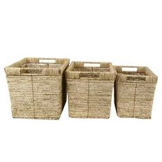 "Set of three maize storage baskets in honey.   Product: Small, medium, and large basketConstruction Material: MaizeColor: HoneyDimensions: 11"" H x 15.75"" W x 11.8"" D (large)"