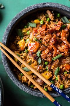 KIMCHI CHICKEN AND BACON FRIED RICE. 17 Korean-Inspired Recipes to Try at Home #purewow #food #easy #asian #dinner #recipe #koreaninspiredrecipes #easydinners #friedrice #chickenrice