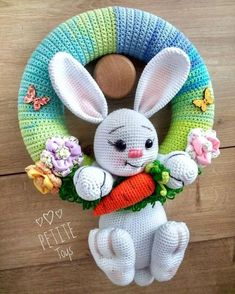Mesmerizing Crochet an Amigurumi Rabbit Ideas. Lovely Crochet an Amigurumi Rabbit Ideas. Easter Crochet Patterns, Crochet Bunny Pattern, Cute Crochet, Crochet Patterns Amigurumi, Crochet Dolls, Crochet Wreath, Diy Ostern, Crochet Decoration, Stuffed Toys Patterns