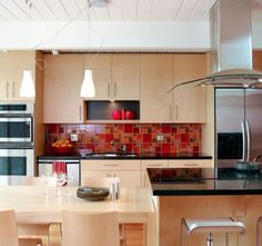 red backsplash ideas with wooden cabinet
