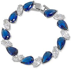 Carolee Silver-Tone Blue and Clear Crystal Bracelet Fashion Jewelry, Women Jewelry, Review Fashion, Crystal Bracelets, Clear Crystal, Wedding Accessories, Jewelry Watches, Fine Jewelry, Bling