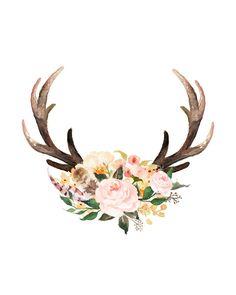 'headdress' Art Print by bri-b Watercolor Flowers, Watercolor Paintings, Deer Skulls, Crafts To Do, Antlers, Iphone Wallpaper, Art Prints, Drawings, Artwork