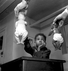 Gordon Parks  ::  In studies, Children both black and white preferred the white baby over the black baby...attributing positive adjectives to it as well...little brown baby just didn't compare.  Times haven't changed much in this regard.