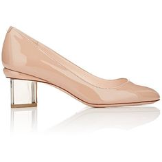 Nicholas Kirkwood Briona Pumps (424.505 CLP) ❤ liked on Polyvore featuring shoes, pumps, nude, patent pumps, mid heel pumps, nude patent leather shoes, round toe pumps and nude pumps