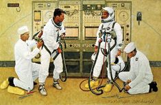 """Norman Rockwell, """"Grissom and Young,"""" LOOK magazine, April 20, 1965."""