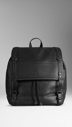 Buckled Strap Leather Backpack | Burberry