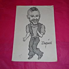 Rare Jason Orange Caricature Sketch By Artist by WelshGoatVintage