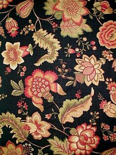 """Hampstead+Black Kingsway Fabric - Traditional Jacobean floral fabric. Perfect for drapery fabric or upholstery fabric. Content; 55% Linen & 45% Rayon. Repeat; V 25"""" H 54"""". 54"""" wide"""