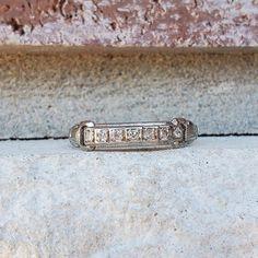 Antique Art Deco Platinum Diamond Wedding Band Ring | Diamond Milgrain Stacking Ring 1920s Antique Wedding Bands, Wedding Ring Bands, Platinum Diamond Wedding Band, Popular Bands, Fingers Design, Antique Art, Fashion Rings, Diamond Rings, 1920s