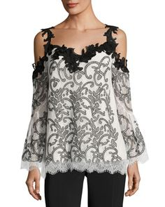 Ren+Embroidered+Cold-Shoulder+Lace+Top+by+Kobi+Halperin+at+Neiman+Marcus.