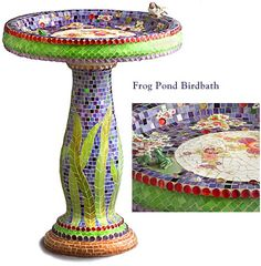 Frog Pond Birdbath from Cocci & Idee -- features two tiny frogs on a lily pad inside the birdbath & a little song bird on the edge -- made from stained glass, colored mirror glass, glass nuggets, china & porcelain figurines covering a concrete structure.
