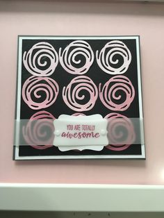 Swirly scribbles card made using ombre card stock in Rich Razzleberry and Sweet Sugarplum inks a simple card.