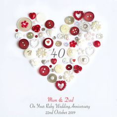 This Personalised Ruby Anniversary Button Heart makes a gorgeous timeless gift the recipient will treasure forever. Old Fashioned Typewriter, Wedding Anniversary Celebration, Anniversary Ideas, Anniversary Frames, Heart Artwork, Button Cards, Heart Pictures, Heart Frame, Box Frames