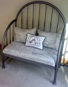 """Cushion and pillows I made with my favorite """"script"""" fabric, brewery pillow silk-screen was made by my daughter, my husband made the bench from his mother's old iron bed frame ... a family creation!"""
