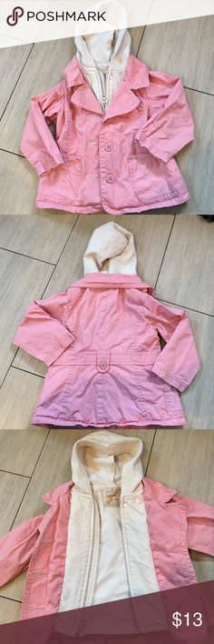 Girls jacket Girls pink jacket with attached cream sweatshirt inside. Pocket in front zips & buttons closed & has hood. Tiny spot picture on 4th pic. Barely noticeable. Very comfortable jacket. old Navy Jackets & Coats