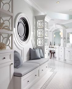Foyer (shelves) Sophisticated Key West Style - eclectic - bathroom - other metro - Pinto Designs and Associates Style At Home, Dream Bathrooms, Beautiful Bathrooms, Glamorous Bathroom, Luxury Bathrooms, Key West Style, Eclectic Bathroom, Modern Bathroom, Bench Designs