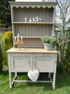 Shabby Chic Stunning Oak Welsh Dresser Display Cabinet Painted Ebay