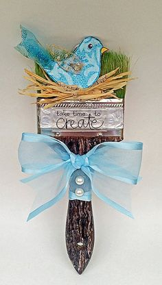 April 4 - National Birding day - Altered Art / Mixed Media Bird in a Nest Paintbrush - By KatShakKreations Home Crafts, Diy And Crafts, Arts And Crafts, Paper Crafts, Paint Brush Art, Paint Brushes, Upcycled Crafts, Recycled Art, Steampunk Crafts