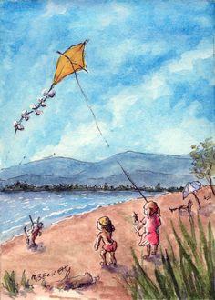 ACEO TW  Mar Original Kids Flying Kite children beach wind lake scenic playing #Impressionism