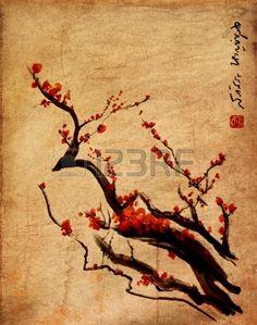 Sakura cherry blossom plum chinese brush paintingRed cherry blossom chinese brush painting Stock Photo
