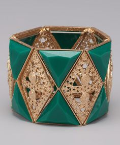 Take a look at this Green Filigree Stretch Bracelet by Seeing Green: Intimates & Accessories on #zulily today!