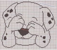 Shy Dalmatian x-stitch Cross Stitch Baby, Cross Stitch Charts, Cross Stitch Designs, Cross Stitch Patterns, Knitting Charts, Baby Knitting, Cross Stitching, Cross Stitch Embroidery, Crochet Pixel